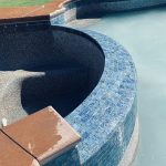 Replaced swimming pool tiles