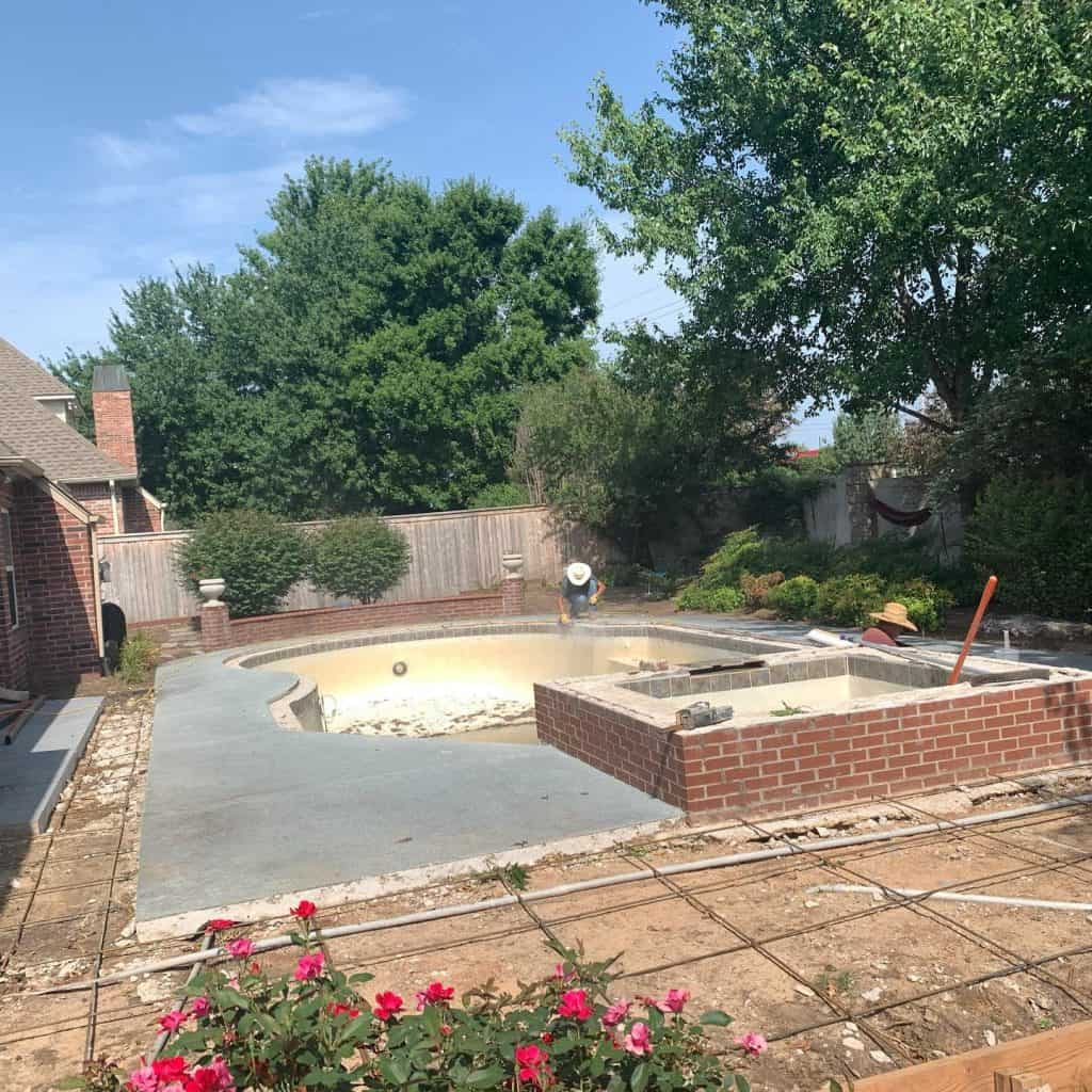 pool builders - swimming pool under construction