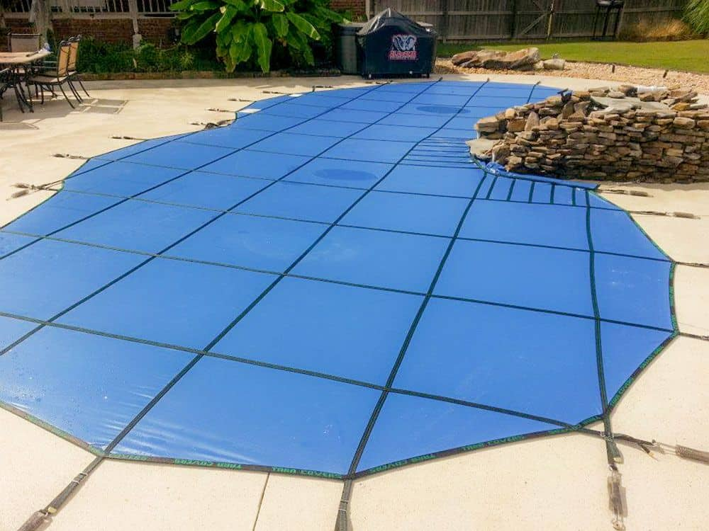 Solid Blue Pool Safety Cover